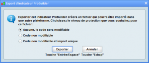 export indicateur prorealtime