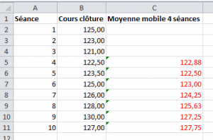 calcul moyenne mobile simple